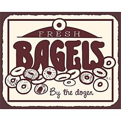 Vintage Metal Art 'Fresh Bagels' Tin Decorative Kitchen Sign