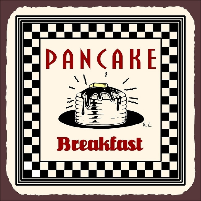 Vintage Metal Art 'Pancake Breakfast' Decorative Tin