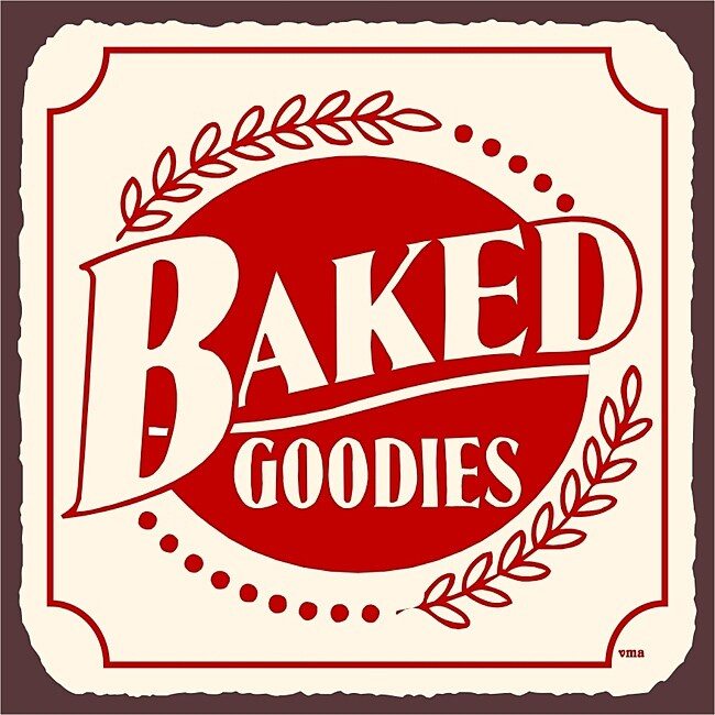 Vintage Metal Art 'Baked Goodies' Decorative Tin Kitchen Sign