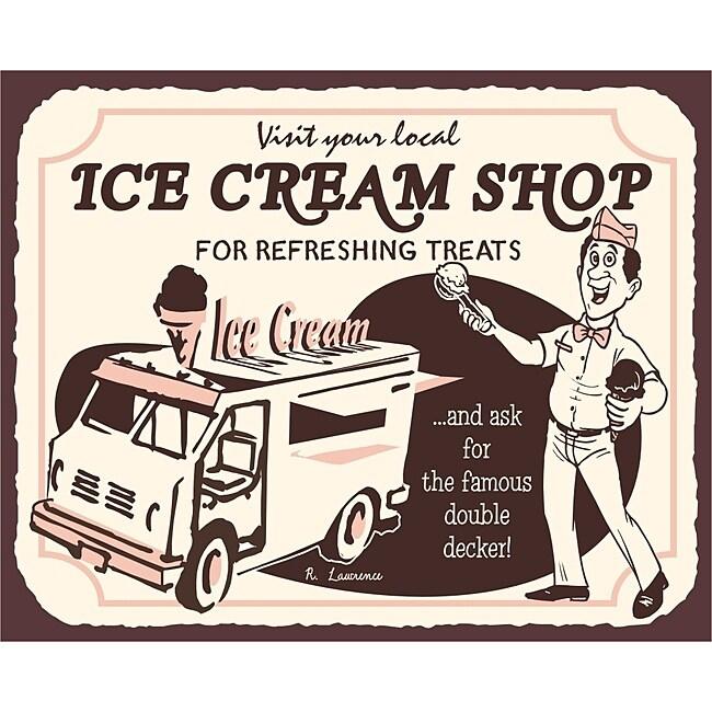 Vintage Metal Art 'Ice Cream Truck' Decorative Tin Kitchen Sign
