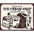 Vintage Metal Art 'Ice Cream Truck' Decorative Tin Kitchen Sign