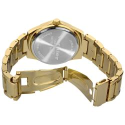 Vernier Women's Gold Tone Side Chrono Look Crystal Bezel Bracelet Watch