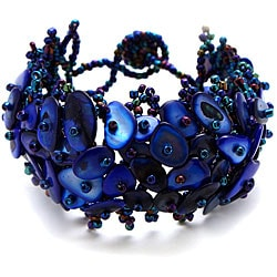 Cobalt Blue Mother of Pearl Bead Weave Bracelet