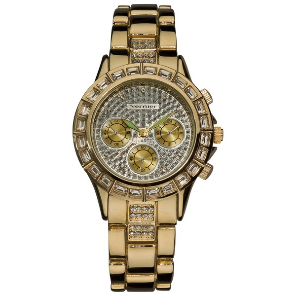 Vernier Women's Gold Tone Mix Glitz Faux Chrono Watch