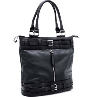 Dasein Faux-leather Tote with Belt Accent and Zip Top Closure