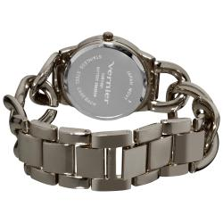 Vernier Women's Fashion Gun Metal Oversized Link Watch