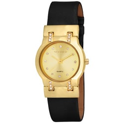 Vernier Women's Round Gold Tone Czech Crystal Stones Watch