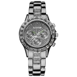 Vernier Women's Silver Tone Mix Glitz Faux Chrono Watch
