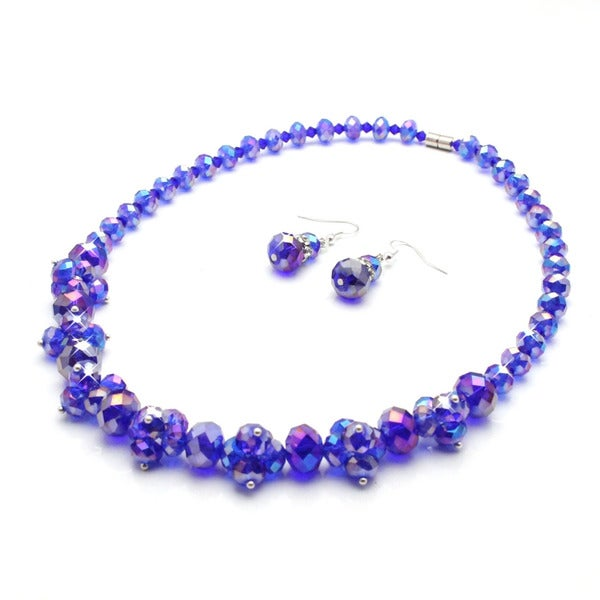 Cobalt Blue Ice Crystal Cluster Necklace and Earring Jewelry Set