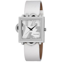 Vernier Women's Square Silver Tone Case Oversized Numerals Watch