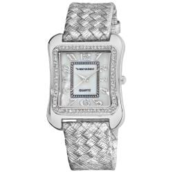 Vernier Women's Silvertone Braid Tank Case Water-resistant Watch