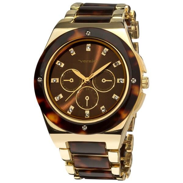 Vernier Women's Gold Tone/ Tortoise Resin Faux Chrono Bracelet Watch