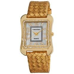 Vernier Gold Tone Braid Tank Case Watch