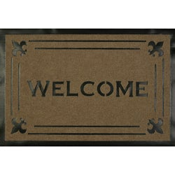 Somette Welcome Fleur Tan Carved Mat (1'8 x 2'8)