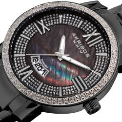 Akribos XXIV Men's Sparkling Diamond Black Bracelet Watch