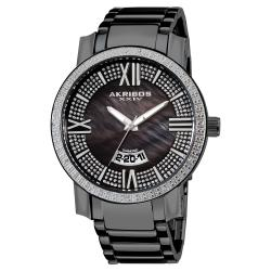Black Akribos XXIV Men's Sparkling Diamond Bracelet Watch