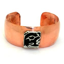 Copper Cuff with Alpaca Silver Mayan Glyph (Mexico)