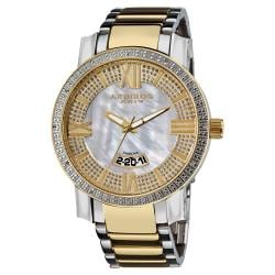 Goldtone and Steel Akribos XXIV Men's Sparkling Diamond Bracelet Watch