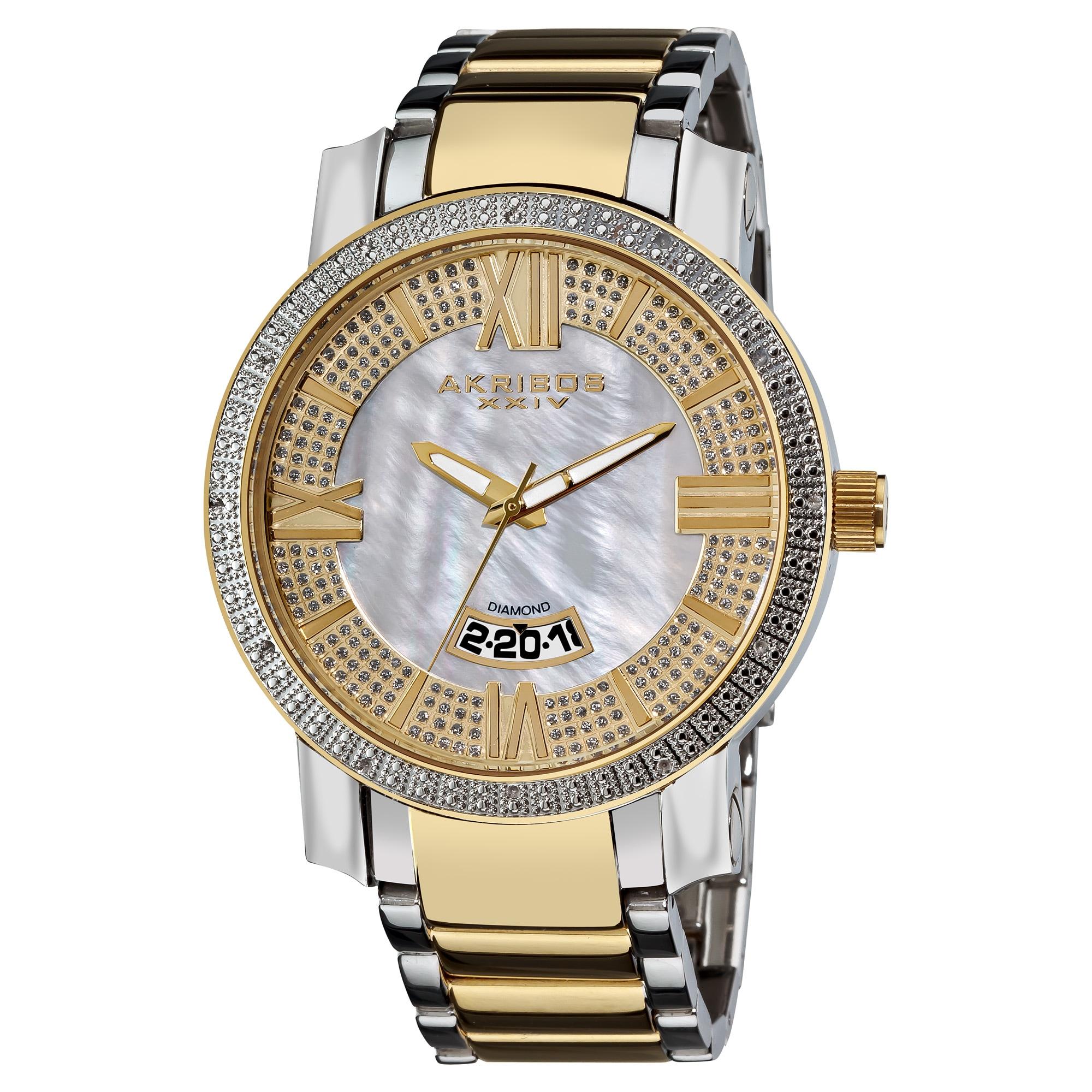 Akribos XXIV Men's Gold-Tone and Steel Sparkling Diamond Bracelet Watch