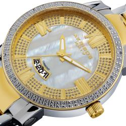 Gold-Tone and Steel Akribos XXIV Men's Sparkling Diamond Bracelet Watch
