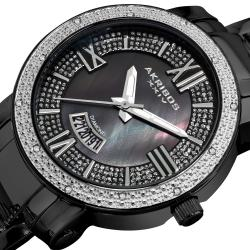 Akribos XXIV Women's Sparkling Diamond Black Stainless Steel Bracelet Watch