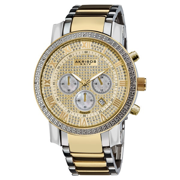 Akribos XXIV Men's Large Dial Diamond Quartz Chronograph Bracelet Watch