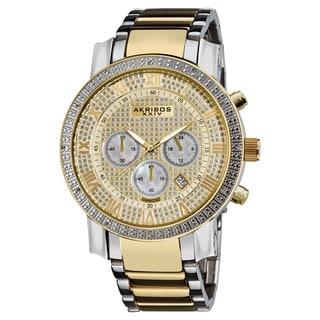 Akribos XXIV Men's Large Dial Diamond Quartz Chronograph Two-Tone Bracelet Watch