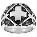 Stainless Steel Wide Band Cross Ring