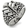 West Coast Jewelry Stainless Steel Cast Leaf and Stone Ring