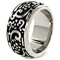 West Coast Jewelry Stainless Steel Flowers and Swirls Ring