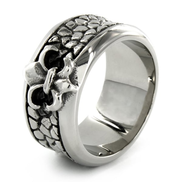 Stainless Steel Fleur de Lis Stone Textured Ring