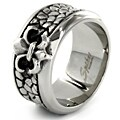 West Coast Jewelry Stainless Steel Fleur de Lis Stone Textured Ring