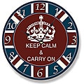 Round 'Keep Calm & Carry On' Wall Clock
