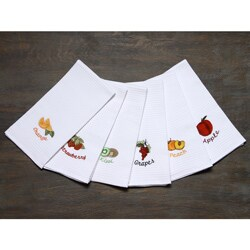 LUCIA MINELLI Luxury european 6 pcs Fruit Embroidered Turkish Kitchen towel set