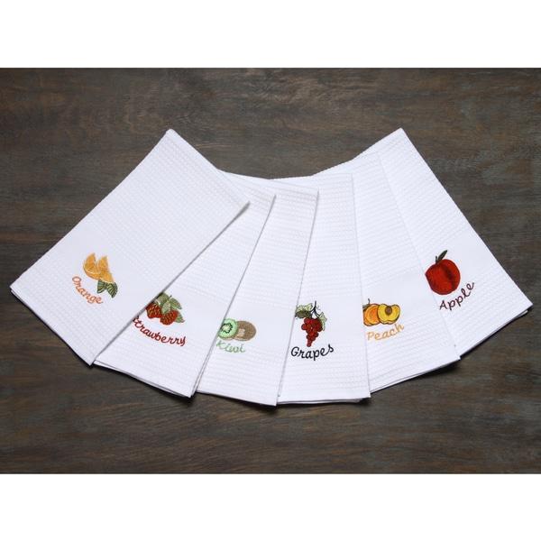 LUCIA MINELLI Luxury european 6 pcs Fruit Embroidered Turkish Kitchen towel set