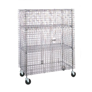 Olympic 2 Shelf Chrome Mobile Security Unit - 24 x 36 x 71 inches high