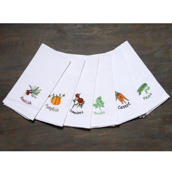 LUCIA MINELLI 6 piece Vegetable Embroidered Turkish Kitchen Towel Set