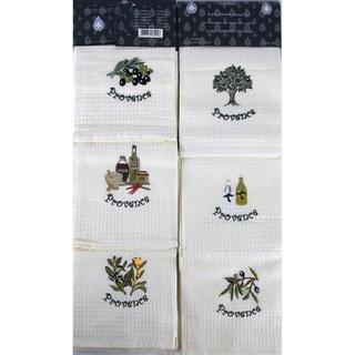 Lucia Minelli Luxury European 6-piece Champagne Embroidered Turkish Kitchen Towel Set