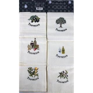Lucia Minelli Luxury European 6-piece Champagne Embroidered Turkish Kitchen Towel Set