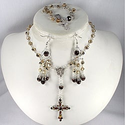 Gold & Chocolate Crystal Catholic Wedding Jewelry Set
