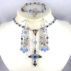 Silver and Sapphire Catholic Wedding Jewelry
