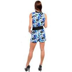 Stanzino Women's Blue Floral Belted Romper