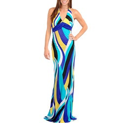 Stanzino Women's Blue/ Aqua Halter Maxi Dress