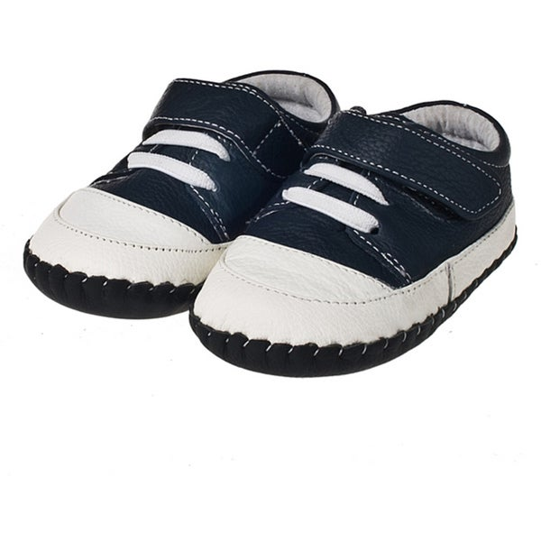 Little Blue Lamb Infant/ Toddler Navy Blue Leather Hand-stitched Shoes