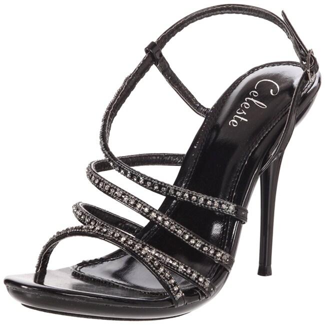 Celeste Women's 'Hana-13' Black Rhinestone Heels