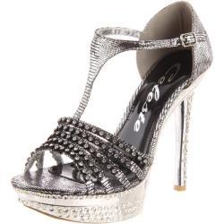 Celeste Women's 'Natalie-01' Silver T-strap Heels