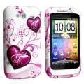 BasAcc White/ Purple Hearts TPU Rubber Skin Case for HTC Wildfire S