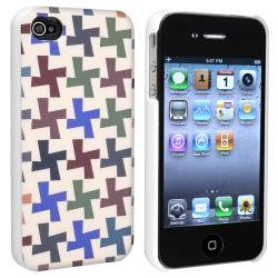 INSTEN Colorful Cross Pattern Snap-on Phone Case Cover for APP iPhone 4/ 4S