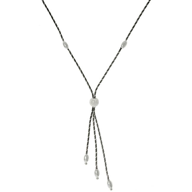 CGC Sterling Silver and Ruthenium Sleek Snake Lariat Necklace