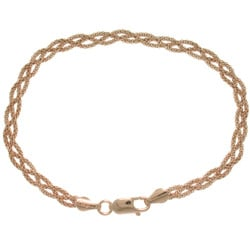 CGC Rose Gold over Sterling Silver Braided Popcorn Bracelet